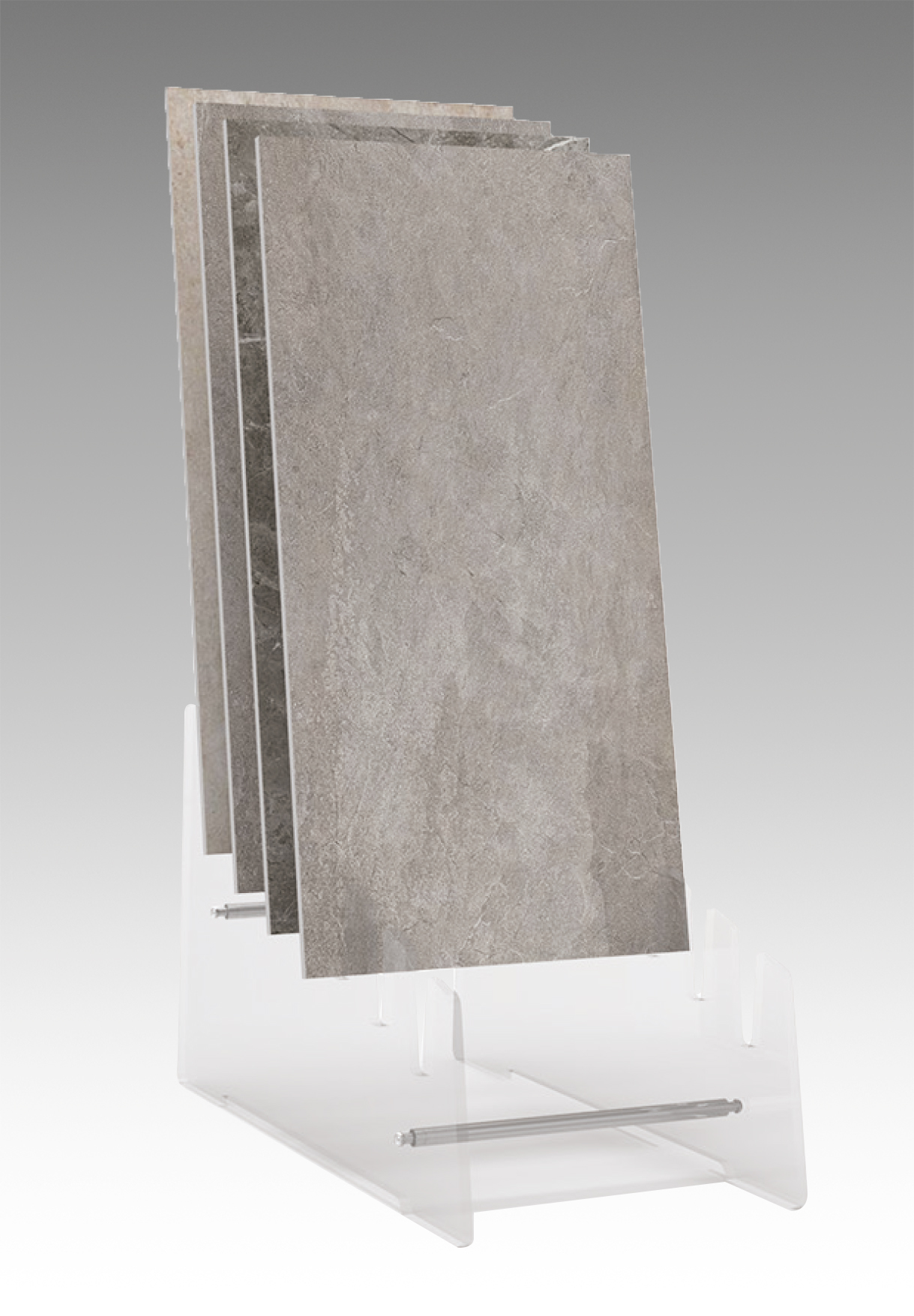 Sistema espositivo in plexiglass per lastre da esterno o interno