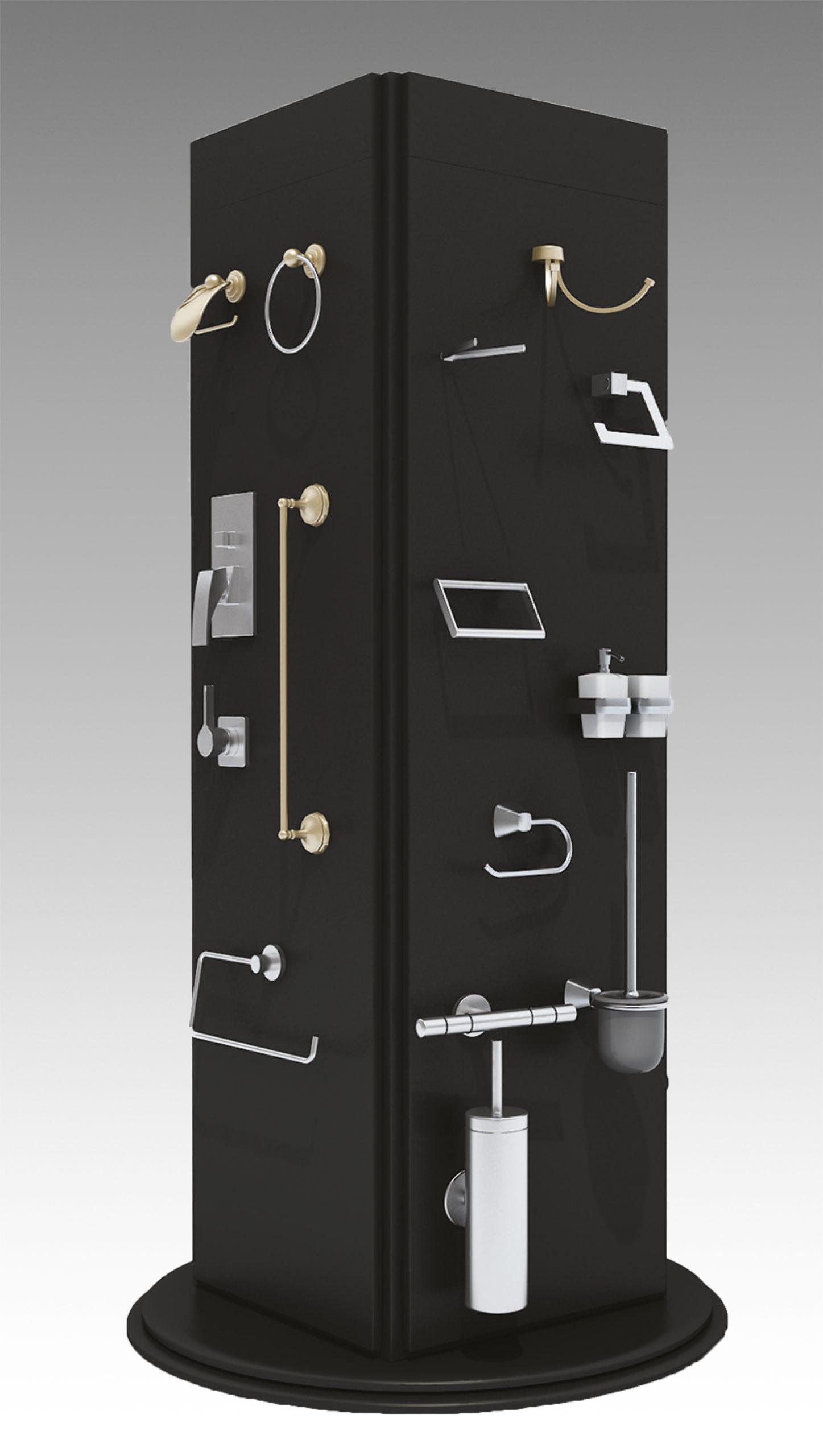 Totem espositore girevole con 4 lati per esposizione accessori bagno
