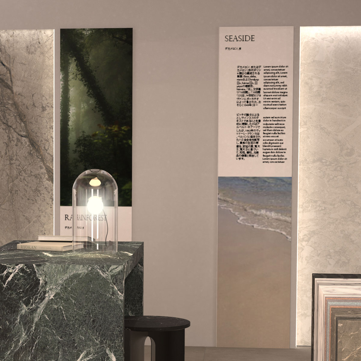 Sistemi espositivi pietre e mosaici in mdf