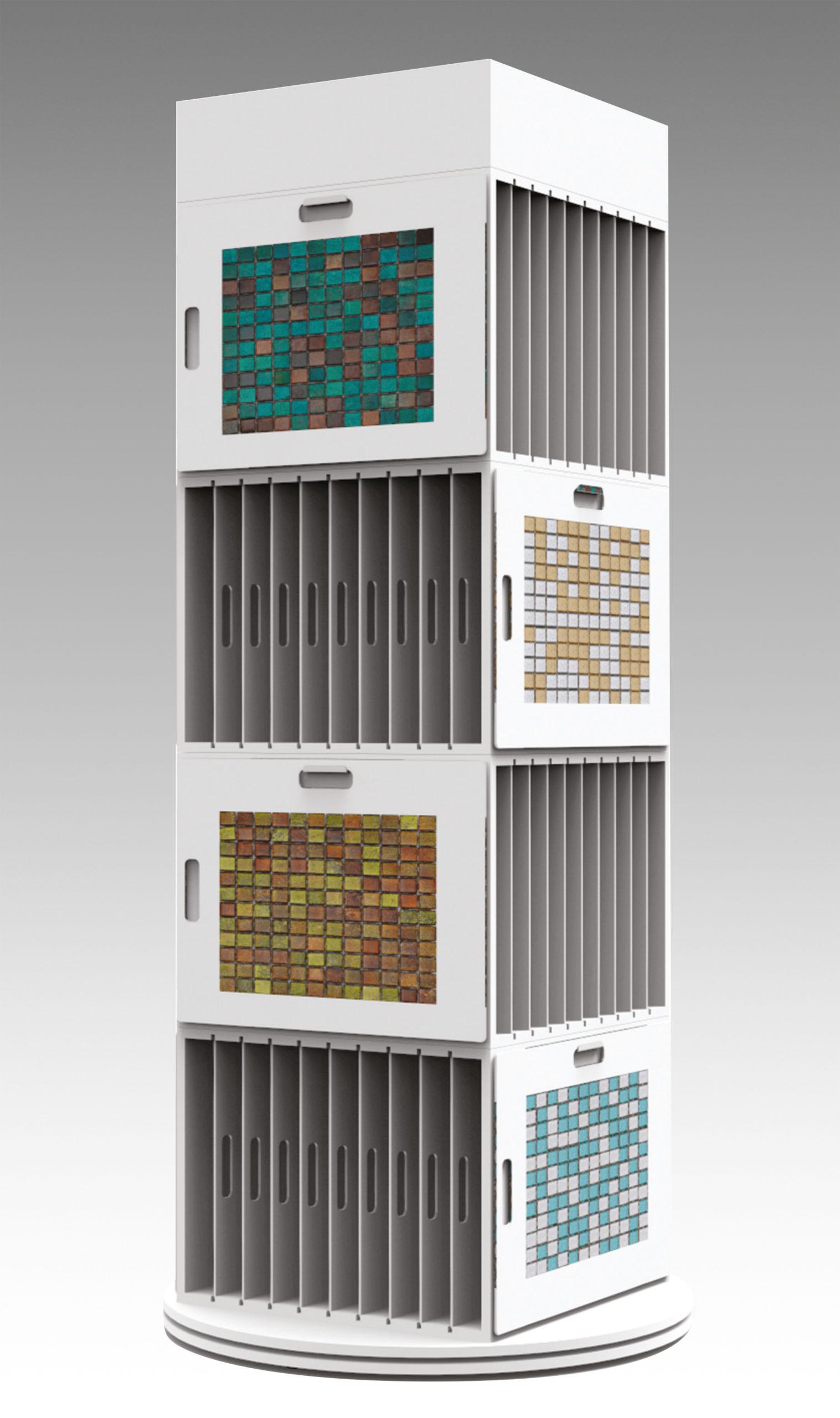 Espositore in mdf per mosaici girevole personalizzato