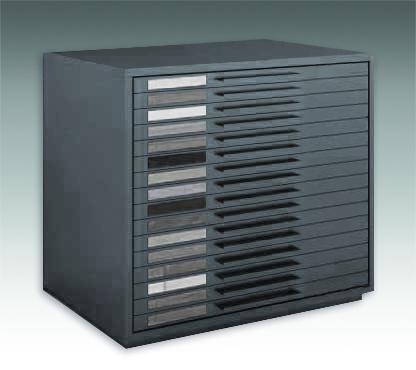 Mobile cassettiera per campioni di parquet. Cassetti estrabilil.