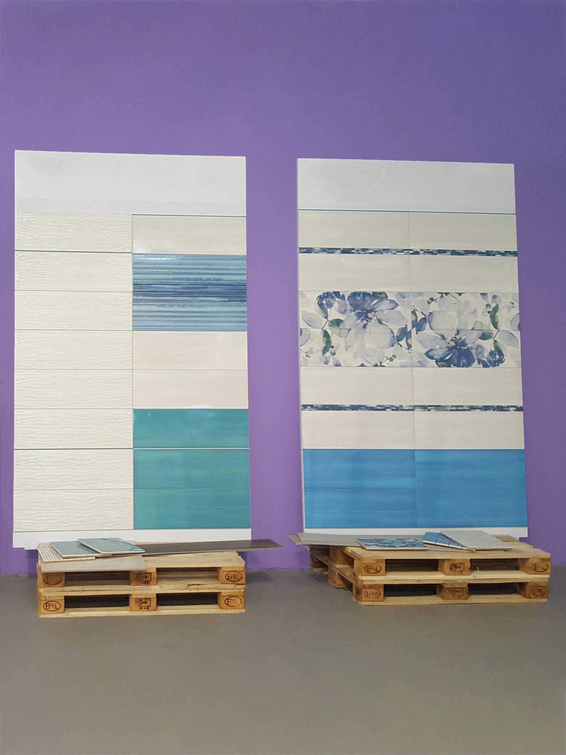 Pannelli sinottici di grande formato con posa ceramiche e stucco